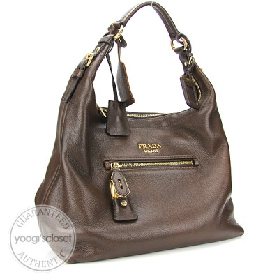 Prada Brown Deerskin Cervo Shoulder Bag BR4315