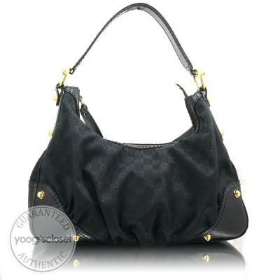 Gucci Black GG Fabric Medium Jockey Hobo Bag