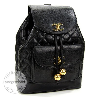 Chanel Vintage Black Quilted Caviar Large Backpack Bag