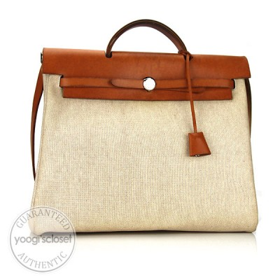 Hermes 35cm Toile/Leather Herbag PM 2-in-1 Bag