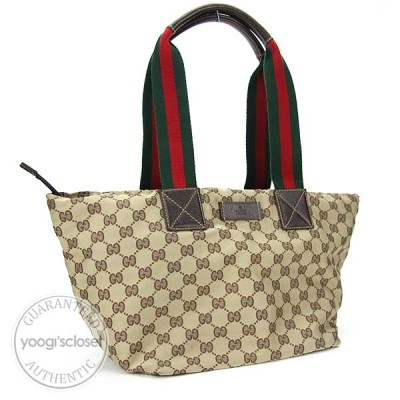 Gucci Beige/Ebony GG Fabric Medium Tote Bag