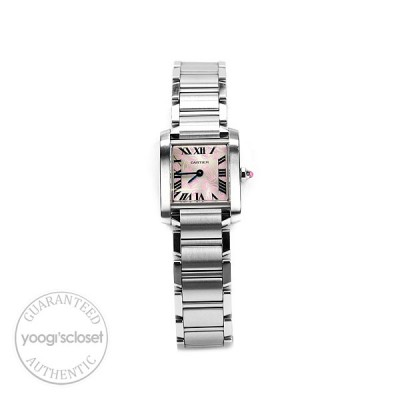 Cartier Tank Francaise Stainless Steel Grey and Pink Dial Ladies Watch W51031Q3