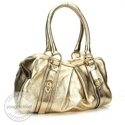 Burberry Classic/Check Gold Ashbury Small Bowler Bag