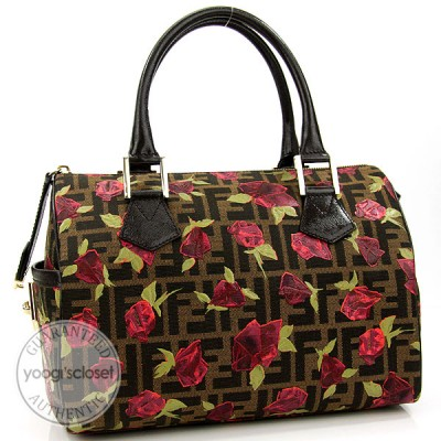 Fendi Limited Edition Baulotto Chef Zucca Canvas Rose Bowler Bag