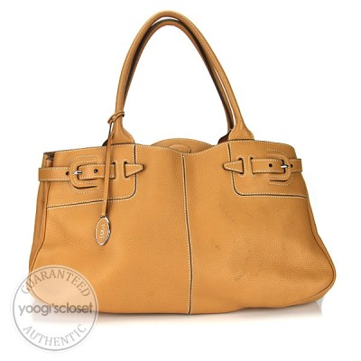 Tod's Tan Leather Satchel Tote Bag