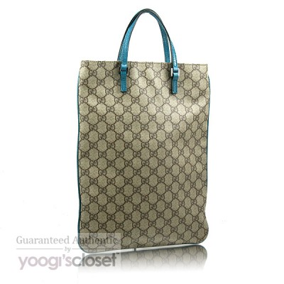 Gucci Beige/Teal GG Coated Canvas Tote Bag