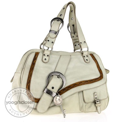 Christian Dior Cream Leather Gaucho Large Hobo Bag