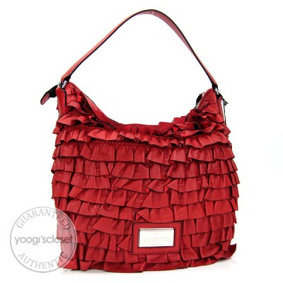 Valentino Red Nappa Leather Rouches Ruffled Hobo Bag