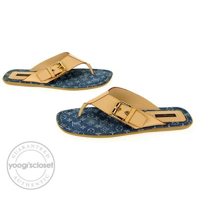 Louis Vuitton Blue Denim Monogram Denim Sandals Size 8