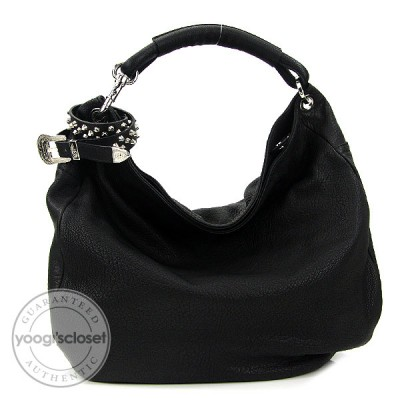 Jimmy Choo Black Leather Sky Studded Belt Hobo Bag