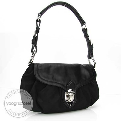 Prada Black Tessuto Nylon Small Pleated Shoulder Bag