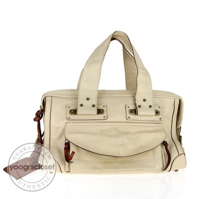 Chloe Cream Leather Satchel Tote Bag