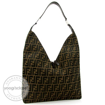 Fendi Tobacco Zucca Canvas V-Cut Shoulder Bag