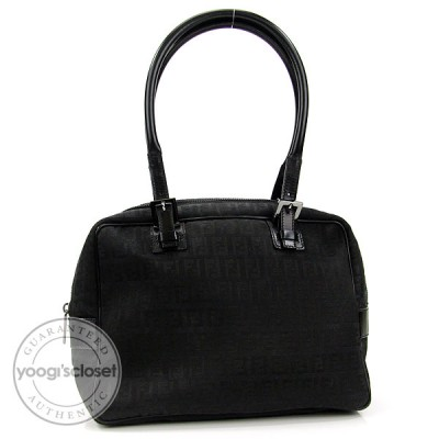Fendi Black Zucchino Canvas Small Satchel Bag