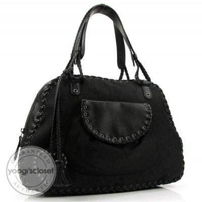 Christian Dior Black Jacquard Ethnic Zipped Tote Bag