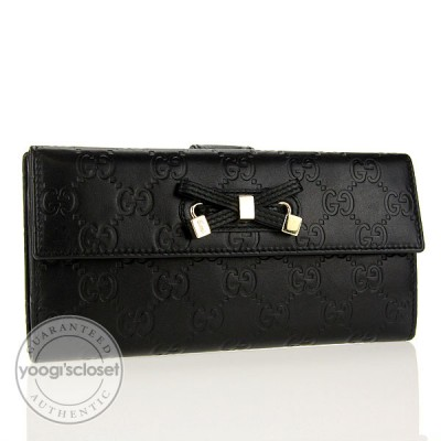 Gucci Black Leather Guccissima Princy Long Wallet