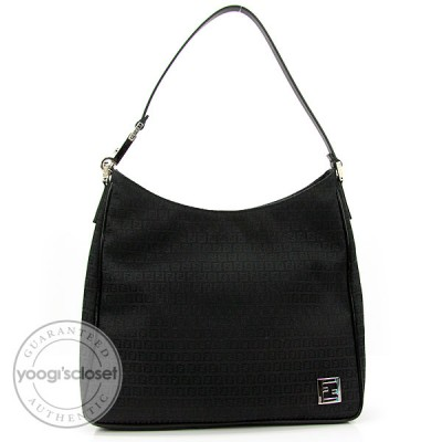 Fendi Black Mini Zucchino Print Canvas Shoulder Bag