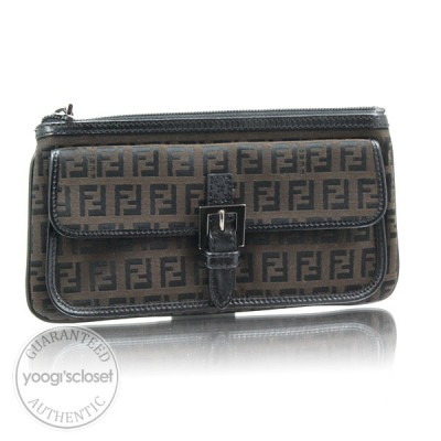 Fendi Black/Dk Brown Zucchino Canvas Cosmetic Case/Clutch