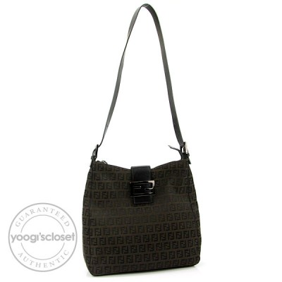 Fendi Brown/Black Zucchino Medium Shoulder Flap Bag