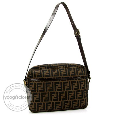 Fendi Tobacco Zucca Canvas Shoulder Bag