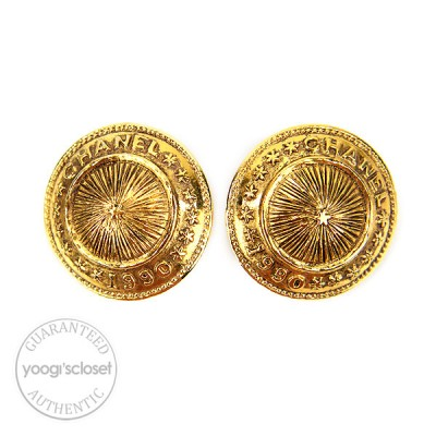Chanel Vintage Goldtone Medallion Round Clip-on Earrings