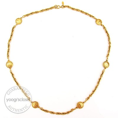 "Chanel Goldtone ""31 Rue Cambon"" Medallion Necklace"