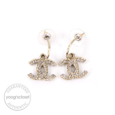 Chanel Swarovski Crystal CC Logo Earrings