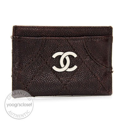 Chanel Brown Outdoor Ligne Quilted Caviar Card Holder