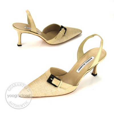Manolo Blahnik Tan Buckle Pointed Toe Slingback Heels Size 9