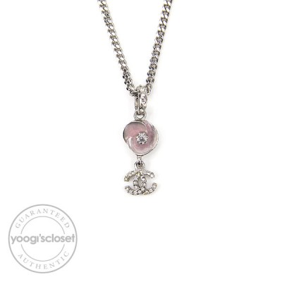 Chanel CC Crystal and Lavender Flowers Necklace