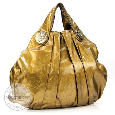 Gucci Gold Patent Leather Hysteria Large Top Handle Bag