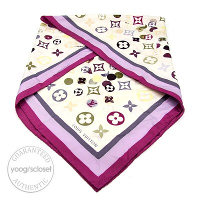 Louis Vuitton White Pink Silk Printed Square Scarf