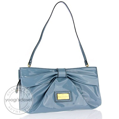 Valentino Garavani Blue Coated Canvas Bow Shoulder Bag