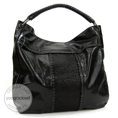 Bottega Veneta Black Maxi Perforated Tote Bag