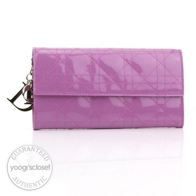 Christian Dior Lilac Lady Dior Cannage Patent Leather Continental Wallet