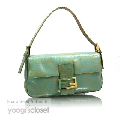 Fendi Mint Green Coated Canvas Zucchino Baguette Bag