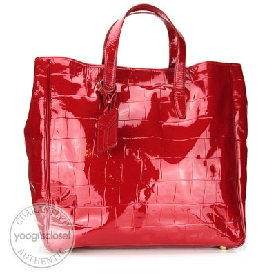 Yves Saint Laurent Red Croc Embossed Patent Leather Raspail Oversized Tote Bag