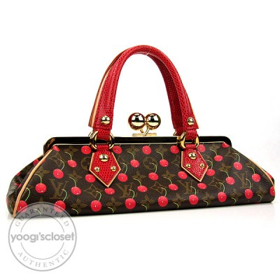 Louis Vuitton Limited Edition Cerise Lizard Sac Fermoir GM Bag
