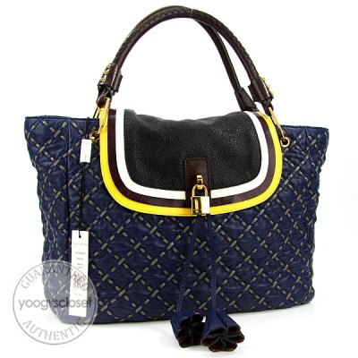 Marc Jacobs Navy Blue Leather Quilted Mackenzie Flap Tote Bag