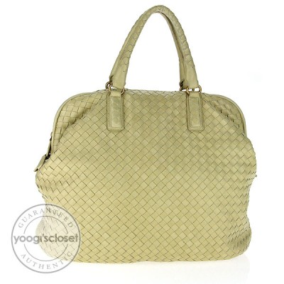 Bottega Veneta Cream Woven Leather Large Satchel Bag