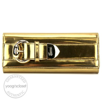 Gucci Gold Leather Buckle Evening Clutch Bag