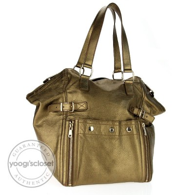 Yves Saint Laurent Bronze Leather Downtown Medium Tote Bag