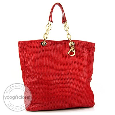 Christian Dior Red Leather Lady Dior Woven Large Tote Bag