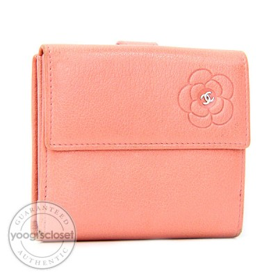 Chanel Pink Leather Camellia Wallet