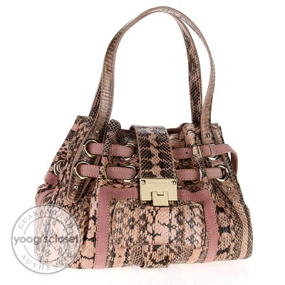Jimmy Choo Pink Snakeskin Medium Riki Bag