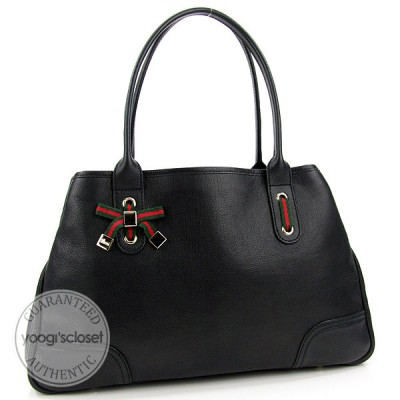 Gucci Black Leather Princy Medium Tote Bag