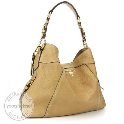 Prada Tan Deerskin Cervo Shoulder Bag