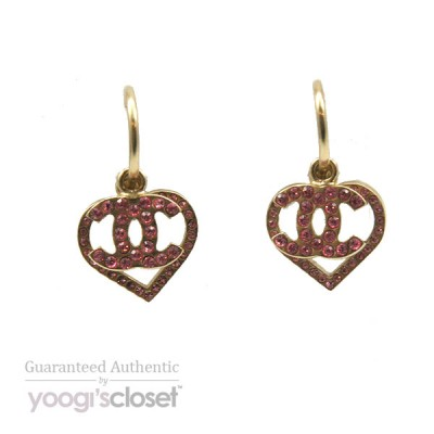 Chanel Gold Heart and CC Logo Pink Crystal Dangle Earrings