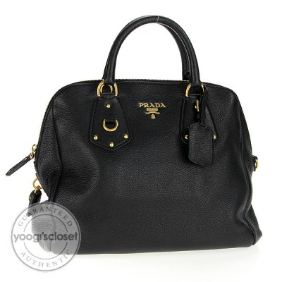 Prada Black Leather Vitello Daino Bauletto Bag BL0496