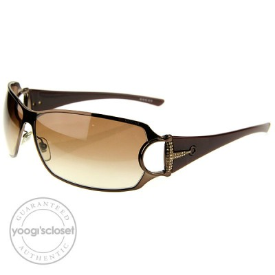 Gucci Brown Horsebit Crystal Logo Sunglasses 2740